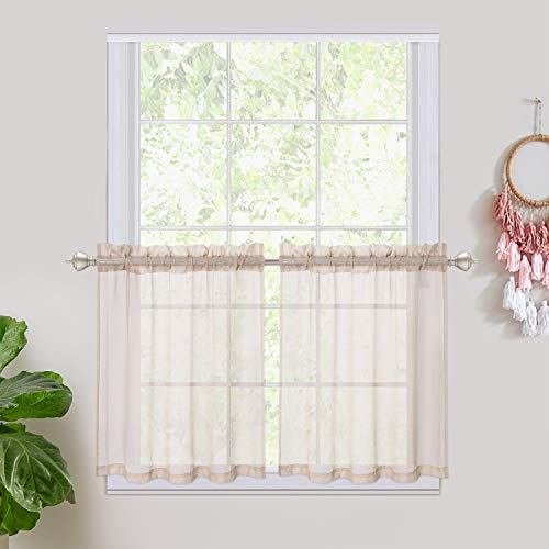 """Haperlare Short Sheer Window Curtain, Rod Pocket Cafe Tier Curtains Voile Panels for Bathroom, Kitchen, Small Windows, Living Room and Bedroom - 27"""" W x 24"""" L, Taupe, Set of 2"""
