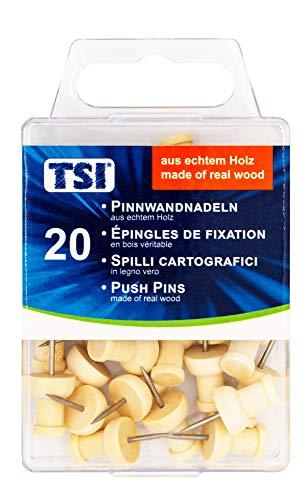 TSI 4022792483607 Pinnwandnadeln aus echtem Holz, 20-er Packung