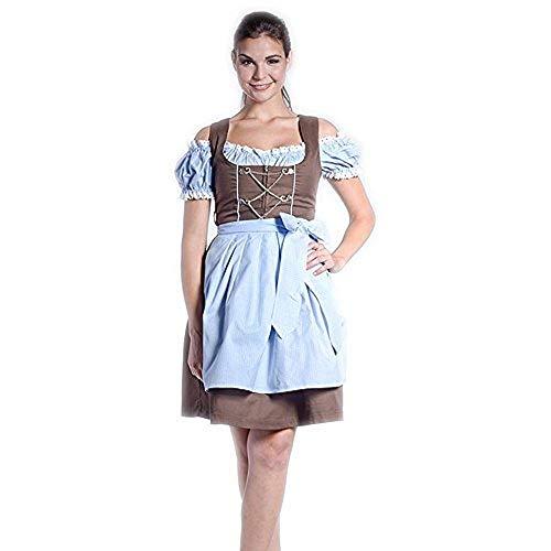 donnerlittchen! Mini- oder Midi-Dirndl inkl. Bluse und Schürze Luisa - braun/blau/Weiss, Größe:32;Länge:Midi-Dirndl (Wadenlänge)
