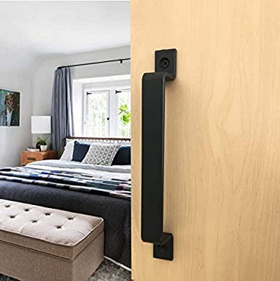 "Flush Pull Barn Door Handle (2 Pack) 6"" Black   No Sharp Edge   Screws Included"