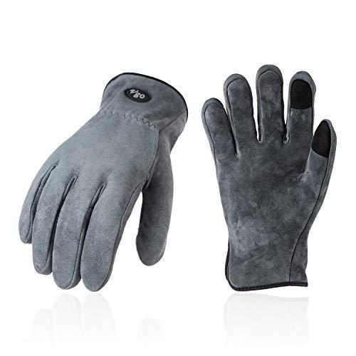 Vgo Mode- und Outdoorhandschuhe für Herrn, aus Hirschspaltleder, hohe Atmungsaktivität, Touchscreen (1 Paar, 8/M, Grau, DB9712)