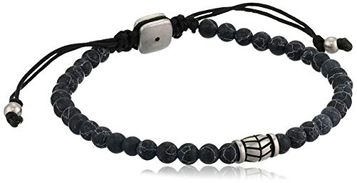 Fossil Beaded Bracelet, Black Marble, Inner Length: 185mm