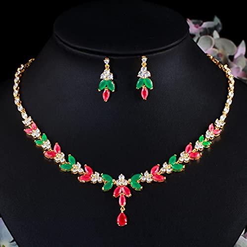 WJCRYPD Elegante Verde Rojo Cúbico Zirconia Piedra Boda Joyería Conjunto Collar Nupcial Y Pendiente De Joyería De Traje Juegos de joyería Qf Shop (Metal Color : Gold Color)