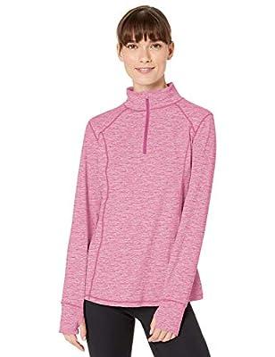 Danskin Women's Active 1/4 Zip Wicking Pullover Top, Violet Quartz Space Dye, Small