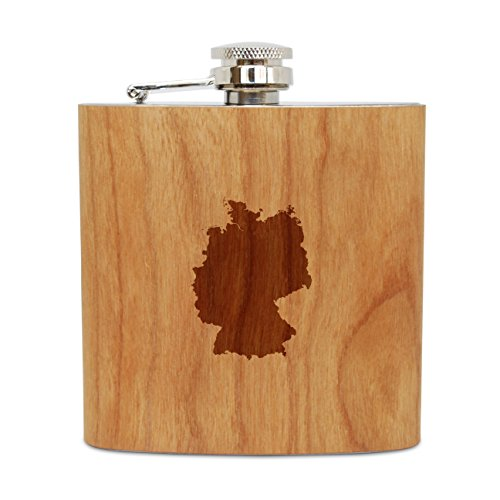WOODEN ACCESSORIES COMPANY Cherry Wood Flask With Stainless Steel Body - Laser Engraved Flask With Germany Design - 6 Oz Wood Hip Flask Handmade In USA