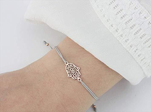 ARMBAND Fatimas Hand 925 Silber rosevergoldet Hellgrau