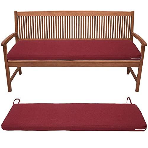 LQKYWNA Cuscino in Spugna per Panca da Giardino 120 * 42 * 3 Cm Cuscino di Ricambio per Altalena per Panca da Esterno Impermeabile (120 * 42 * 3cm, Red-Wine)