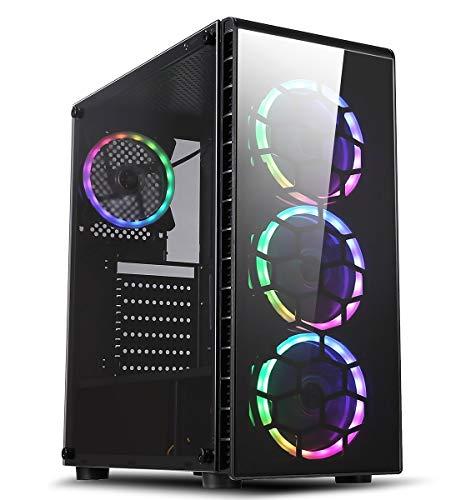 CiT Raider Gaming Case 4 x Halo Spectrum RGB Lüfter Glas Front und Seite MB SYNC