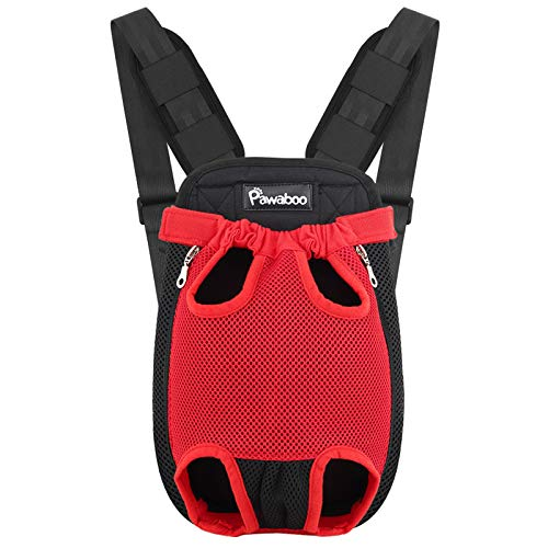 Pawaboo Pet Carrier Backpack, Adjustable Pet Front Cat Dog Carrier Backpack Travel Bag, Legs Out, Easy-Fit for Traveling Hiking Camping for Small Medium Dogs Cats Puppies, Large, RED