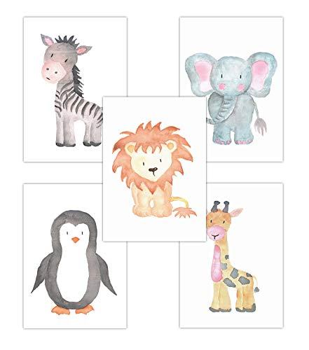 Pandawal Kinderzimmer Deko Junge und Mädchen Safari Tiere Wasserfarben/Waldtiere Boho Esel Elefant Pinguin Löwe Giraffe 5er Poster Set (T13) Kinderposter DIN A4