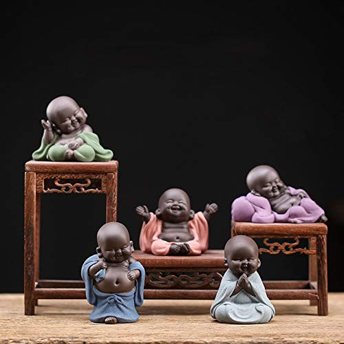 Kingzhuo A Collection of Cutie 5 Smiling Buddha Laughing Buddha Statue Adorable Monk Figurine 5 Lovely Little Buddha Cutest Baby Buddha Great Details Giftable Make You Happy