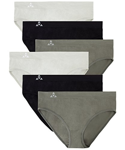 Balanced Tech Women's Seamless Bikini Panties 6-Pack - Grey/Charcoal/Black - Small