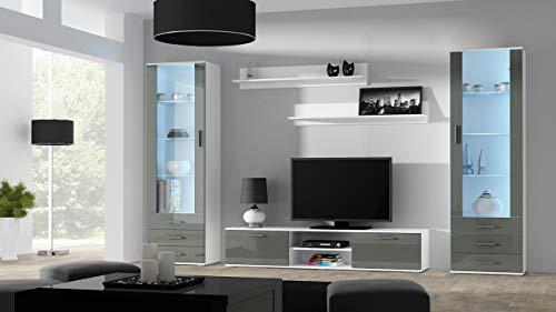 Wohnwand SOHO 4 mit Blauer LED Beleuchtung, Anbauwand, Wohnzimmerschrank, Schrankwand, Vitrine, Lowboard, Hängeregal (Weiß/Grau Hochglanz)