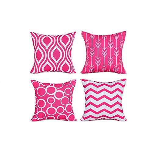 Janly Clearance Sale Funda de almohada geométrica de moda, funda de cojín para sofá o coche, 4 piezas, funda de almohada para el día de Pascua (rosa caliente)