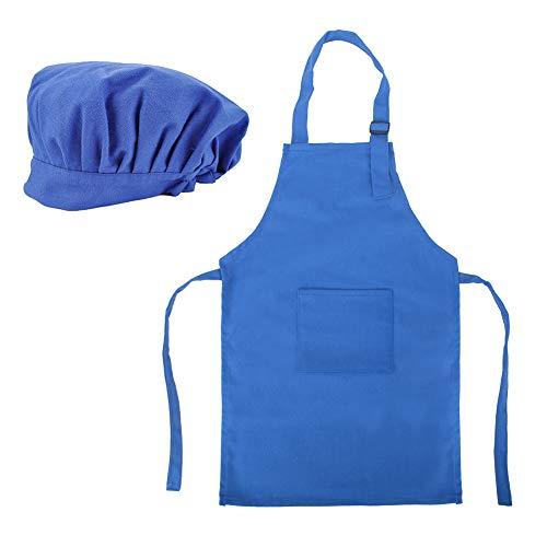 TOPTIE Cotton Canvas Kids Apron, Cooking Aprons and Chef Hat Set, S-XXL-Blue-M