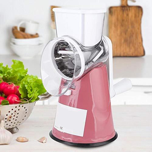 Rallador de alimentos Cortador de verduras desmontable manual 3 en 1 para patatas para el hogar(Pink)