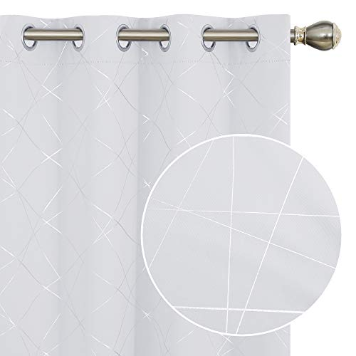 Deconovo Blackout Curtains 108 Inches Long, Room Darkening Geometric Line Patterned Thermal Grommet Curtains for Bedroom - 2 Panels, 52x108 in, Greyish White