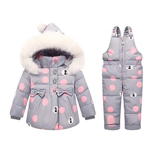 Premewish Baby Mädchen Schneeanzug Set,2 TLG Daunenjacke und Schneelatzhose,Kapuze mit abnehmbaren Plüschbesatz - kw816 (6-12 Monate, Grau)