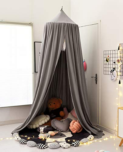 Extra Large Kids Bed Canopy with Princess Cute Dome Crib Nursery Canopy for Girls Bed Canopy for Girls Room Decor Kids Bed Tent Boys Reading Canopy Playing Hanging Canopy (Etheral Gray)