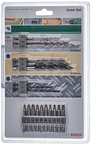 Bosch Set mixto de 19 unidades para Uneo (para madera, metal y piedra, accesorios para martillo perforador)