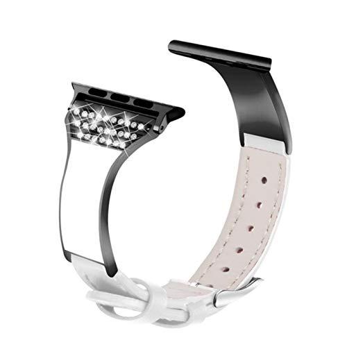 Banda Correa de cuero genuino Cerámica Diamante Correa de reloj para Apple Watch 5 4 3 2 1 44mm 40mm Mujer Dama Diseño Pulsera para iWatch