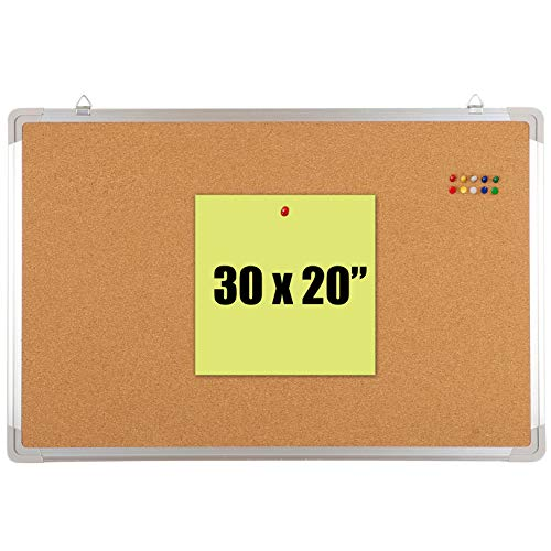"""Bulletin Board Set - Cork Board 30 x 20"""" + 10 Colored Pins - Big Wall Hanging Tack Message Memo Picture Board for Home Office School Cubicle - Presentation, Display and Planning (Cork 30x20"""")"""