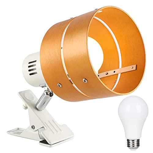 Jiya クリップライト LED電球付き デスクライト E26 60W形相当 電球色 8W 卓上ランプ 電気スタンド 角度調節350°回転 間接照明 読書灯 作業ライト テレビ台 枕元 卓上 目に優しい ナチュラル