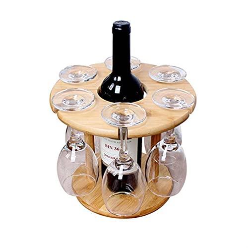 Estantería de Botellas Tenedor de Copa de Vino Tablero de bambú Copa de Vino Racks de Secado Camping para 6 Vidrio y 1 Botella de Vino Titular de Botella de Vino. (Color : 6-Hole Cup Holder)