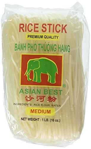 Asian Best Premium Rice Stick Noodle Medium, 16oz (3 Pack)