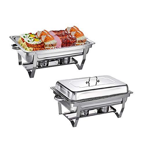 2Pcs 9L Chauffe-Plats Réchauds en Acier Inoxydable Chafing Dish, Buffet Pleine Grandeur avec Bac à Eau, Bac à Nourriture, Support de Carburant et Couvercle pour Buffet, Mariages, Fêtes