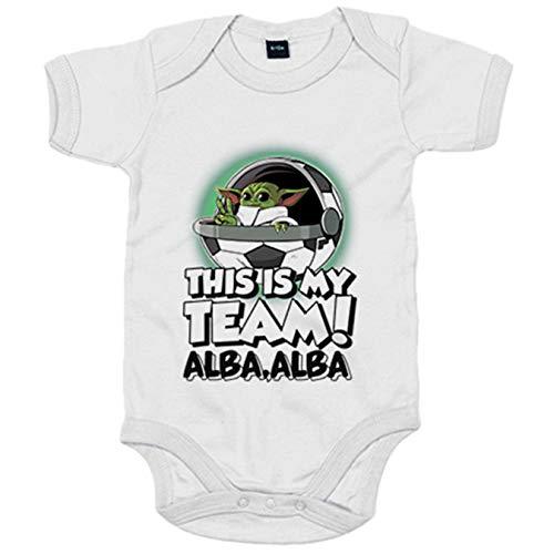 Body bebé parodia baby Yoda mi equipo de fútbol Albacete - Blanco, 12-18 meses