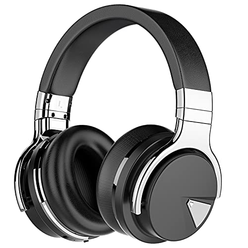 Tapela E7 Wireless Active Noise Cancelling Headphones, Over Ear Bluetooth Headphones with Microphone, 28H Playtime, Deep Bass, Comfortable Protein Ear Cups, for Travel, Home Office - Titanium Black