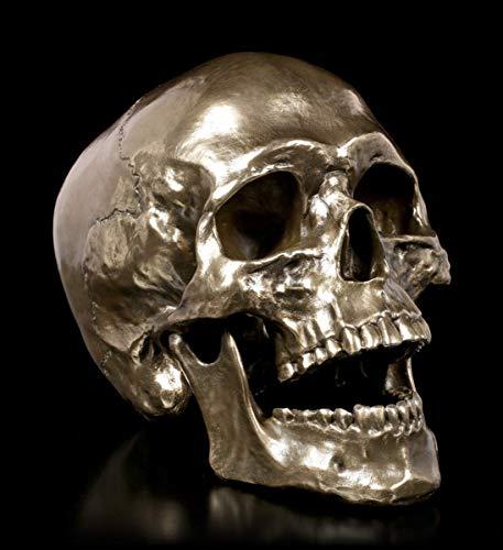 Unbekannt Gothic Totenkopf mit beweglichem Kiefer - Cranius | Fantasy-Skull, in Bronze-Optik, H 15,5 cm