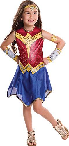 Generique Wonder Woman-Lizenzkostüm für Kinder Justice League blau-rot-Gold 104/116 (5-6 Jahre)