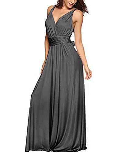 EMMA Damen Sexy Elgant V-Ausschnitt Rückenfrei Gefaltet Plisse Abendkleider Schulterfrei Cocktailkleid Abschluss Bandage, S, Grau