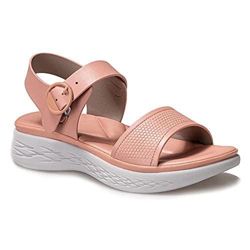 Sandali estivi da donna MD Pendio di polso spesso con sandali a cucitura a colori solidi, punta scivola su mune a cuneo basso melli sandali estivi-Rosa_38.