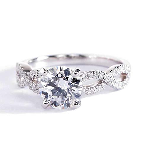 Anillo de compromiso con diamante de corte redondo SI2 D de 1,30 quilates, oro blanco de 18 quilates