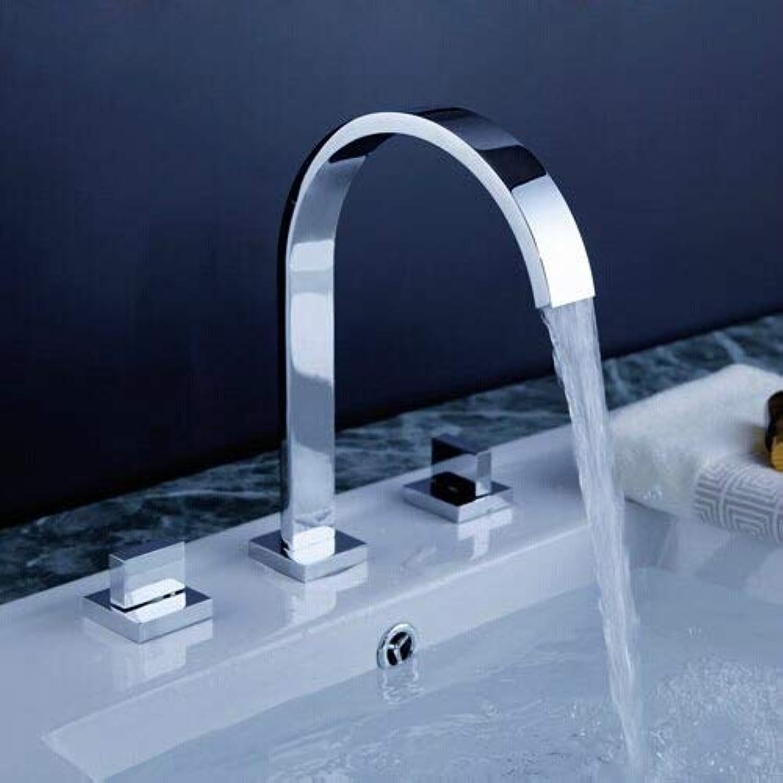 Wasserhahn küche bad Chrom poliert zwei Griffe Deck montiert Badezimmer verbreitet Wasserhahn Waschbecken Waschbecken
