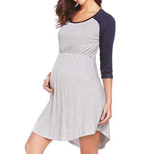 WEIMEITE Vestidos Lactancia Lactancia Vestido Embarazo Maternal Doble Capa Vestido Maternidad Gris-Azul...