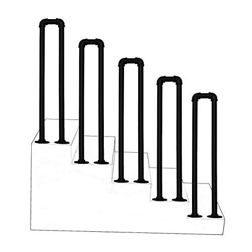 Übergangs handlauf mit Einbausatz, Schmiedeeisen Matt-schwarz Geländer Handläufe U-Rohr Brüstungsgeländer Treppengeländer für Außen Innen Balustrade, Balkon
