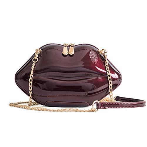 Mode Frauen Mini Lippen Handtaschen Mädchen Casual Kette Messenger Crossbody Handtasche Umhängetasche (Deep Red)