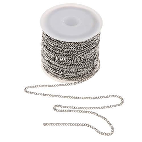 B Baosity 1 Rolle DIY Silber Gliederkette Edelstahl für Halskette Fußkettchen Armband Herstellen - 2,2 mm