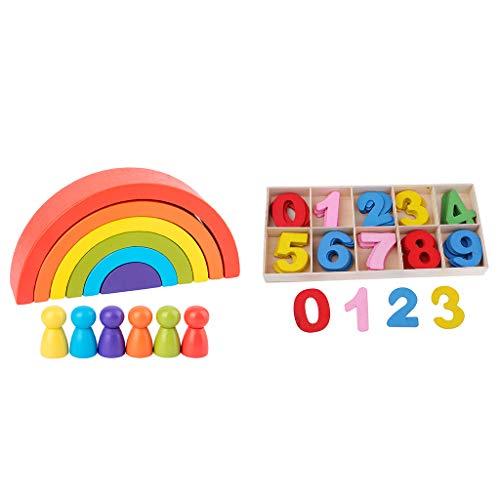 N\C Giocattoli di Apprendimento dei Numeri dei Blocchi di Impilamento Dell'arcobaleno di Legno
