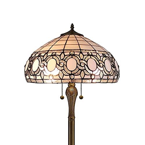 Wzglod Tiffany Floor Lámpara de pie Manchada Manchada Antigua Vintage Luz Decoración Dormitorio Sala de Estar Lámpara Lámpara de Piso Multicolor