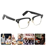 Homradise Smart Audio Anti-Blue Glasses Wireless Bluetooth Bone Conduction with Open Ear Headphone Listen to Music and Hand-Free Calling, Black Frame (HMRA-2-C)
