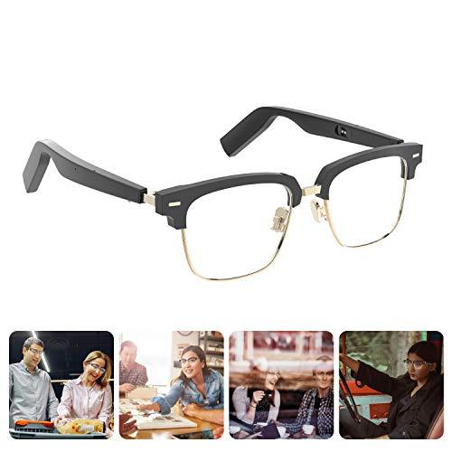 Homradise Smart Audio Occhiali anti-blu Conduzione ossea Bluetooth senza fili con auricolare aperto Ascolta musica e chiamate a mani libere, cornice nera
