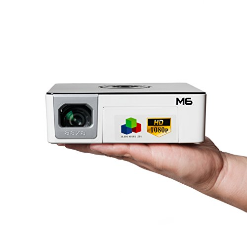 AAXA M6 Full HD Micro LED Projector with Built-In Battery Native 1920x1080p Fhd Resolution 1200 Lumens 30 000 Hour Leds Onboard Media Player Business/Home Theater Use Projector (Renewed)