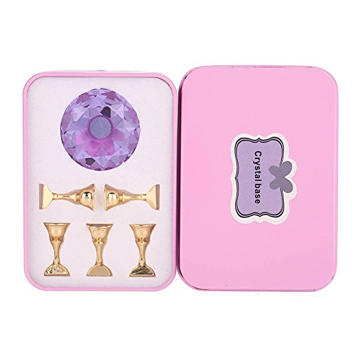 4Colors Magnetic Nail Tip Practice Stand Base, Stand Upright Base Nail Art Display Stand, for Salon DIY(Violet)