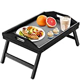 Bed Tray Table with Folding Legs Wooden Serving Breakfast in Bed or Use As a Platter Tray by Pipishell (Black)