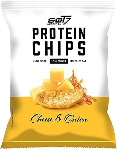 GOT7 HIGH PROTEIN CHIPS - Snack 40% de proteínas para el fitness - Ideal para la dieta y para el tiempo libre - 6x 50g (Cheese & Onion-Queso y Cebolla)